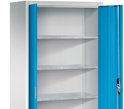 Hinged door cabinets with shelves